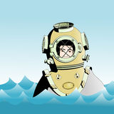 Diver on the surface of the ocean Stock Image