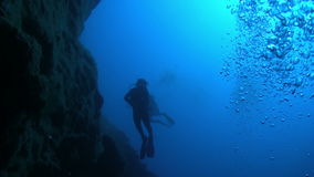 Diver Swim over Coral Reefs stock footage