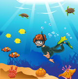 Diver swims in the ocean. Card stock illustration