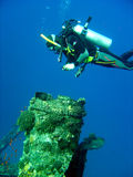 Diver taking photo. Scuba diver taking photo of coral Royalty Free Stock Photos