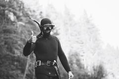 Diver with Thumbs Up Gesture Stock Photo