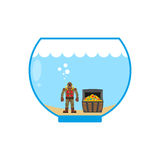 Diver and treasure chest in Aquarium. Miniature figures in water Royalty Free Stock Photography