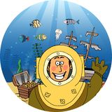 Diver with treasure chest Royalty Free Stock Image