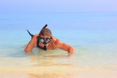 Diver with Tube and mask for a scuba diving Stock Images