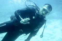 Diver under water Stock Photography