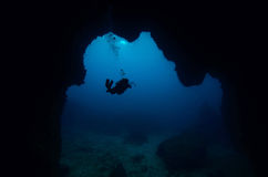 Diver in underwater cave Royalty Free Stock Photo