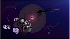 Diver underwater hunter deep in sea meet monster - giant fish angler. Horizontal Stock Image