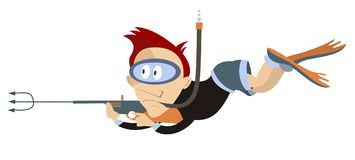 Diver underwater hunting isolated illustration Stock Image