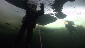 Diver underwater in ice of White Sea. Diver underwter in ice of White Sea. Creative diving and dangerous extreme sport. Unique shooting stock video footage