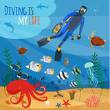 Diver underwater illustration Stock Image
