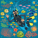 Diver With Underwater Plants And Fishes Set. Vector illustration. Diver character circled by various underwater plants and fishes Stock Images