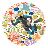 Diver With Underwater Plants And Tropical Fishes. Vector illustration. Diver character circled by various underwater plants and fishes. Text: diving Royalty Free Stock Images