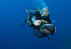 Diver on underwater scooter Stock Photography