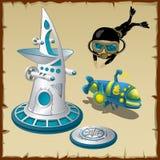 Diver, underwater station and submarine Stock Photo