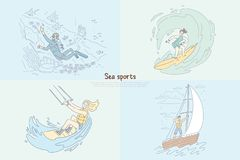 Diver underwater, surfer riding wave, boardsport woman kitesurfing attached to parachute, sailing at sea banner royalty free illustration