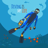 Diver underwater vector illustration. Diving illustration. Diver underwater diver surrounded by fish and corals Royalty Free Stock Photo
