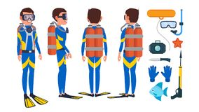 Diver Vector. Underwater. Diving At The Bottom Of The Sea. Flat Cartoon Illustration. Scuba Diver Vector. Snorkeling Diving. Underwater. Isolated Flat Cartoon Royalty Free Stock Photo