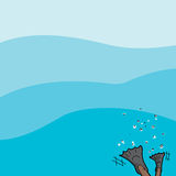 Diver on Water Background Stock Photography