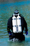Diver on the way. Diver walking through the shallow water Stock Images