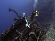 Diver and wreck. Diver over the salem express wreck in the red sea Stock Photography