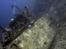 Diver and wreck. Diver over the salem express wreck in the red sea Stock Images
