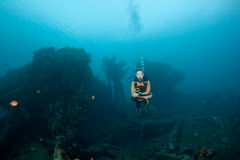 Diver and wreck Royalty Free Stock Photos