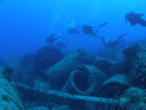 Diver on a Wreck stock image
