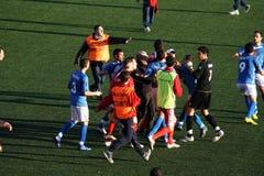 Diverbio di gioco del calcio Fotografie Stock