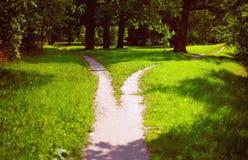 Divergência dos trajetos no parque Fotos de Stock Royalty Free