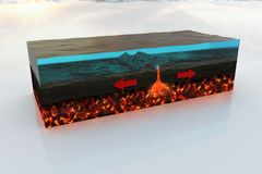 Divergent Plate boundary in high definition. Made by a focused study on materials and processes so it can be use in academic and professional ways Stock Images