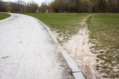 Diverging Path Sidewalk Dirth Path Grass Outdoors Decision Road Stock Photos