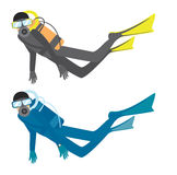 Divers. An illustration of two divers, isolated on a white background Royalty Free Stock Images