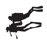 Divers. Introduction diving silhouette. Diver with instructor Royalty Free Stock Photo
