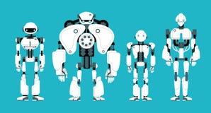 Divers androïdes de robot Caractères futuristes de humanoïde de bande dessinée mignonne réglés illustration stock