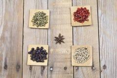 Divers anis de poivrons, de genévrier et d'étoile Photo stock
