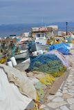 Divers bateaux de pêche grecs photo stock