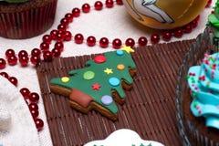 Divers biscuits de pain d'épice de Noël, gâteaux, petits gâteaux Images libres de droits