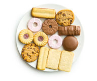Divers biscuits doux de plat Photo stock
