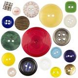 Divers boutons de couture avec un fil Images libres de droits