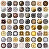 Divers boutons de couture d'isolement sur le blanc Le méga a placé de l'ensemble rond de bouton en métal réaliste illustration 3D Photos stock