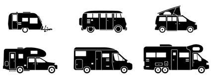 - Divers campeurs dans noir - icônes campantes illustration stock