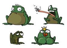 Divers caractères des grenouilles sur un fond blanc Photos stock