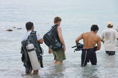 Divers on Caribbean sea Stock Images