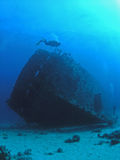 Divers at Carnatic wreck,. Shaab Abu'Nuhas, Red Sea (-30m/100ft Stock Image