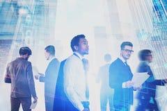 Divers commercieel team, digitale interface royalty-vrije stock foto