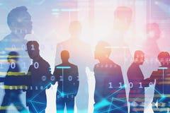 Divers commercieel team in stad, netwerk royalty-vrije stock afbeelding