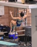 Divers competing at a dive meet. High school boys and girls competing at a dive meet competition in south Texas stock images