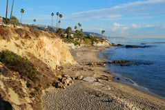 Divers Cove Beach and Heisler Park, Laguna Beach, California. The beautiful coastline of Laguna Beach, California is shown in this image taken during the winter royalty free stock photography