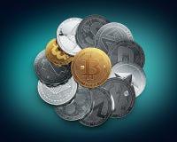 Divers cryptocurrencies et un bitcoin d'or sur le dessus en tant que crypto le plus précieux illustration de vecteur