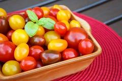 Divers des tomates-cerises colorées dans une cuvette en céramique Photos libres de droits
